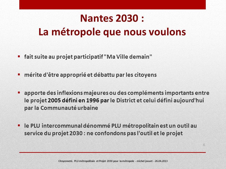 Le PLU métropolitain (PLUM) dont la préparation a été décidée par le conseil communautaire du 14 décembre 2012 17 Citoyenneté, PLU métropolitain et Projet 2030 pour la métropole - michel jouvet - 26.04.2013