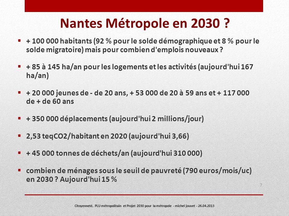 Nantes Métropole en 2030 ? + 100 000 habitants (92 % pour le solde démographique et 8 % pour le solde migratoire) mais pour combien d'emplois nouveaux