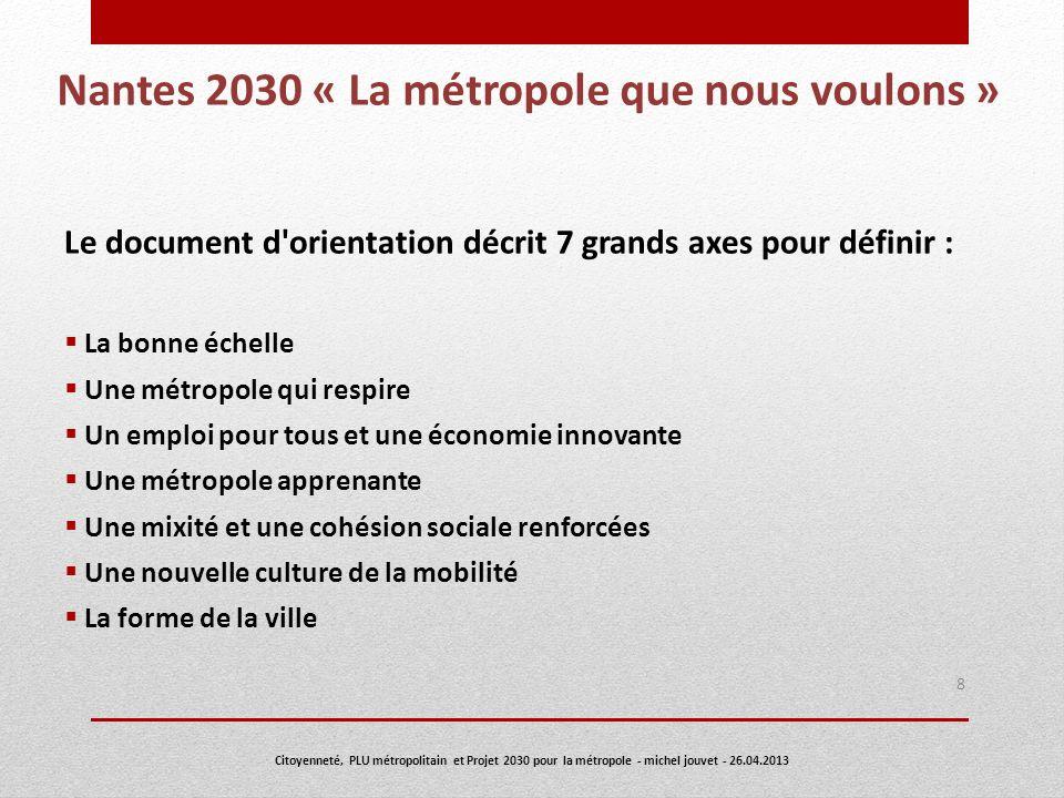 Nantes 2030 « La métropole que nous voulons » Le document d'orientation décrit 7 grands axes pour définir : La bonne échelle Une métropole qui respire