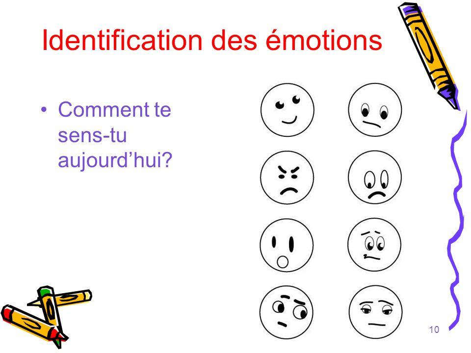 10 Identification des émotions Comment te sens-tu aujourdhui?
