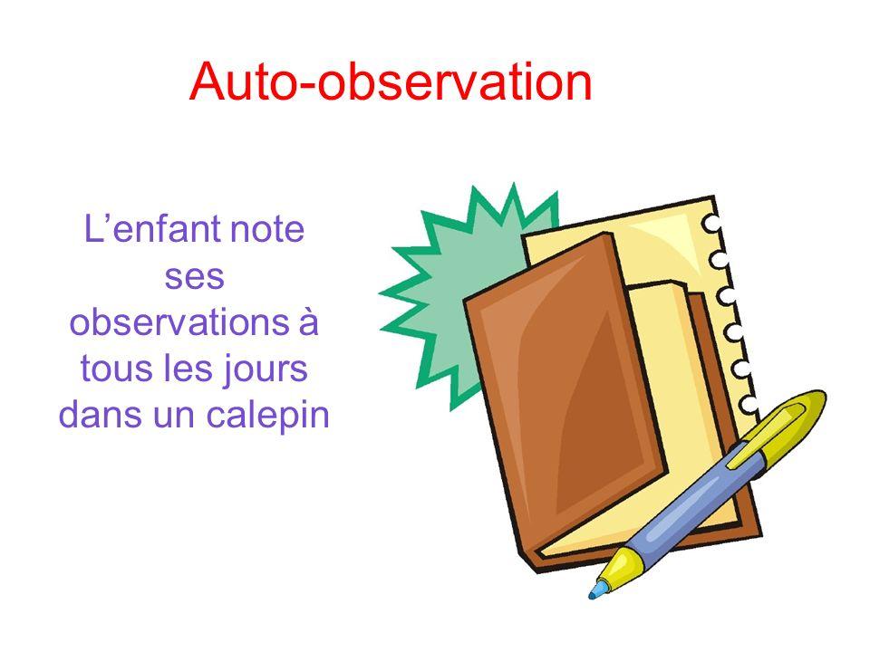 Auto-observation Lenfant note ses observations à tous les jours dans un calepin