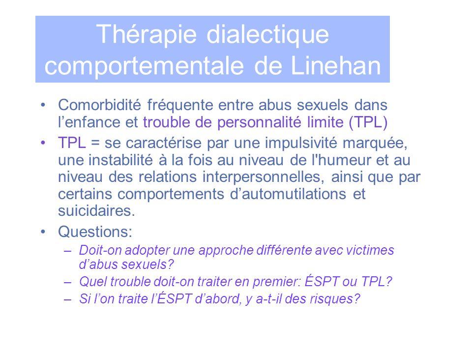 Thérapie dialectique comportementale de Linehan Comorbidité fréquente entre abus sexuels dans lenfance et trouble de personnalité limite (TPL) TPL = s