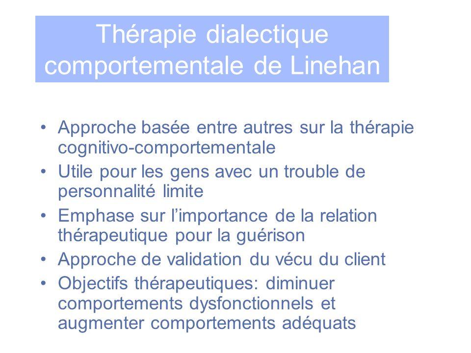 Thérapie dialectique comportementale de Linehan Approche basée entre autres sur la thérapie cognitivo-comportementale Utile pour les gens avec un trou