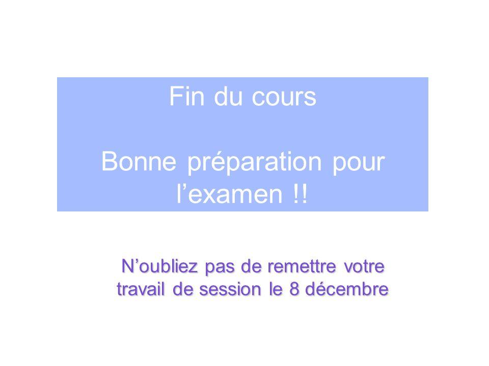 Fin du cours Bonne préparation pour lexamen !! Noubliez pas de remettre votre travail de session le 8 décembre