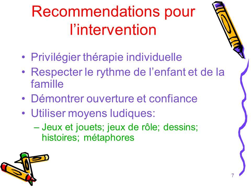 7 Recommendations pour lintervention Privilégier thérapie individuelle Respecter le rythme de lenfant et de la famille Démontrer ouverture et confianc