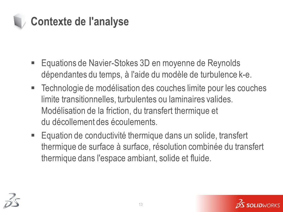 13 Contexte de l'analyse Equations de Navier-Stokes 3D en moyenne de Reynolds dépendantes du temps, à l'aide du modèle de turbulence k-e. Technologie