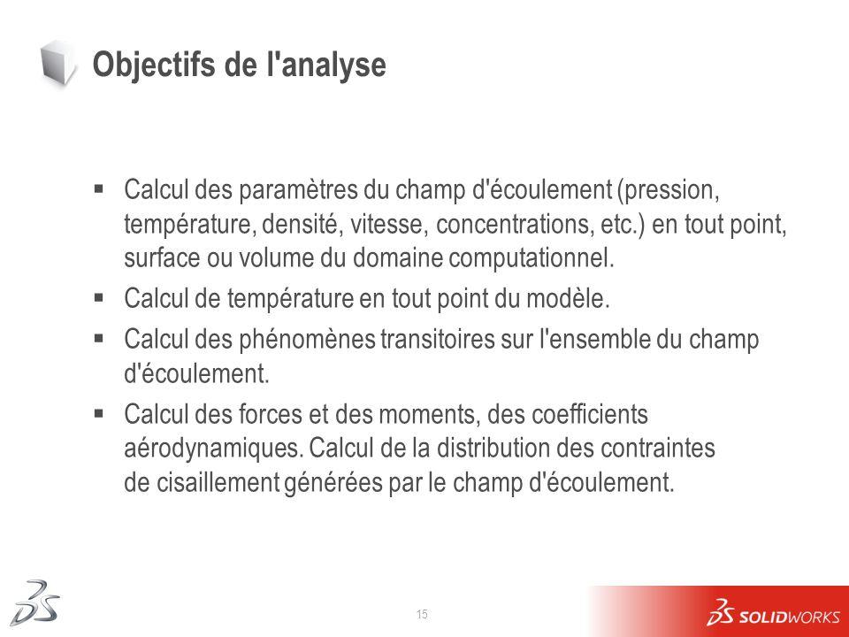 15 Objectifs de l'analyse Calcul des paramètres du champ d'écoulement (pression, température, densité, vitesse, concentrations, etc.) en tout point, s