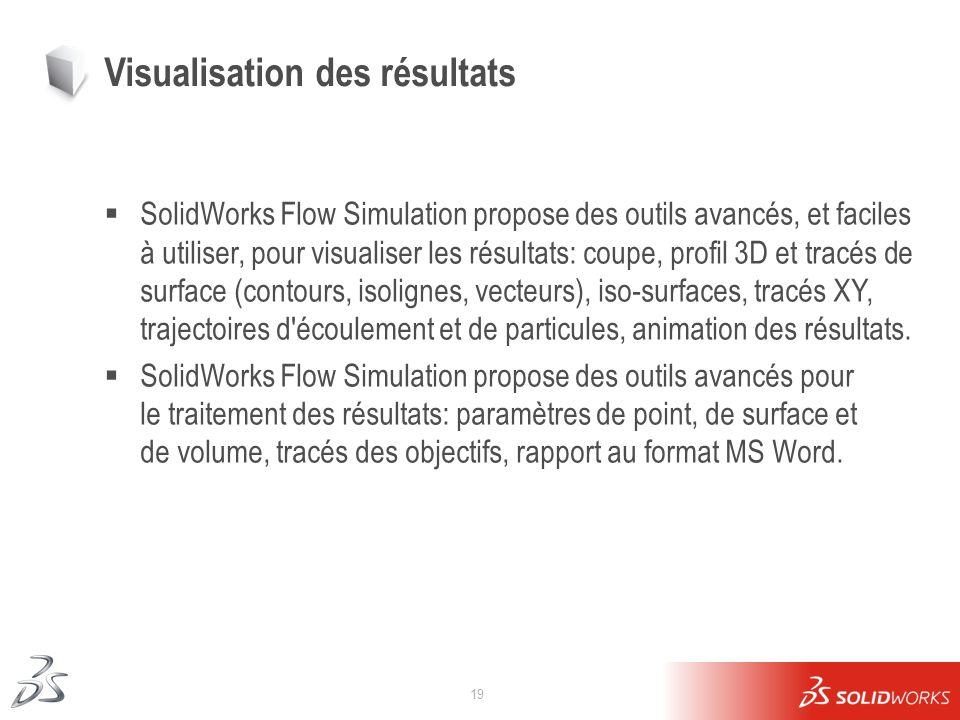 19 Visualisation des résultats SolidWorks Flow Simulation propose des outils avancés, et faciles à utiliser, pour visualiser les résultats: coupe, pro