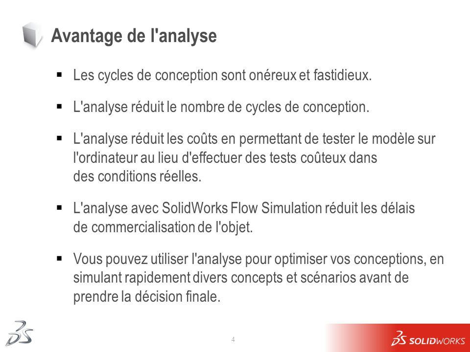 4 Avantage de l'analyse Les cycles de conception sont onéreux et fastidieux. L'analyse réduit le nombre de cycles de conception. L'analyse réduit les