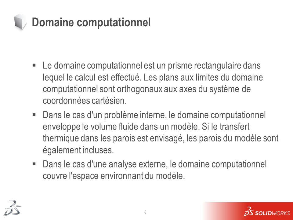 6 Domaine computationnel Le domaine computationnel est un prisme rectangulaire dans lequel le calcul est effectué. Les plans aux limites du domaine co
