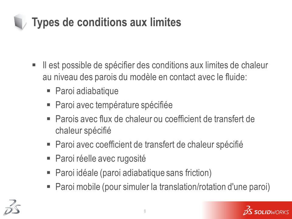 8 Types de conditions aux limites Il est possible de spécifier des conditions aux limites de chaleur au niveau des parois du modèle en contact avec le
