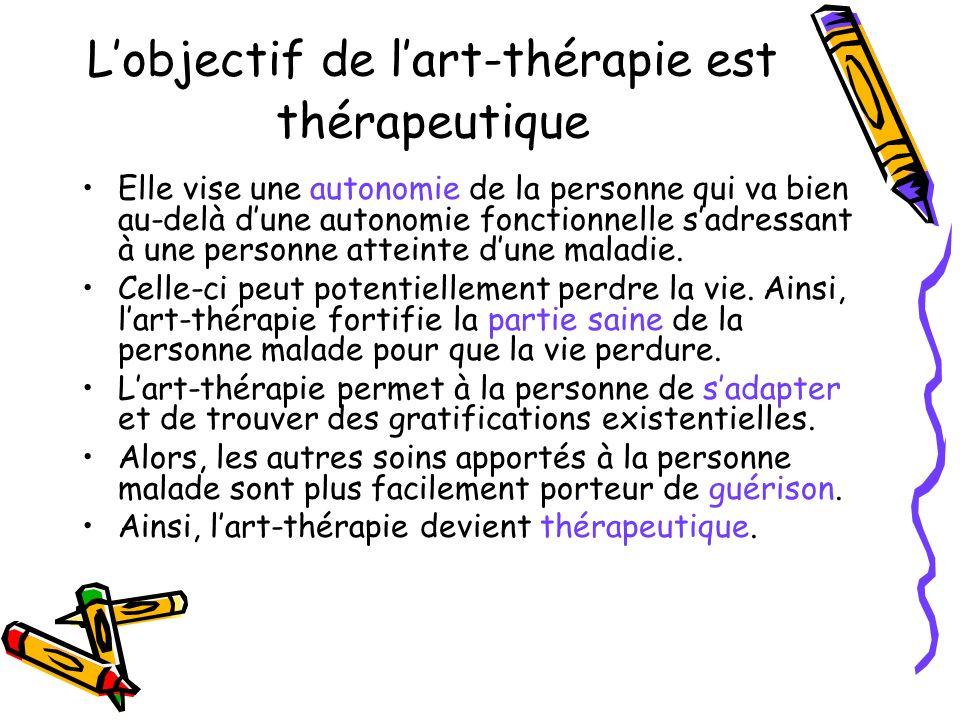 Lobjectif de lart-thérapie est humanitaire Elle vise la qualité existentielle positive de la personne, qui va bien au-delà des normes dune société dans le respect de la vie et de ses règles.