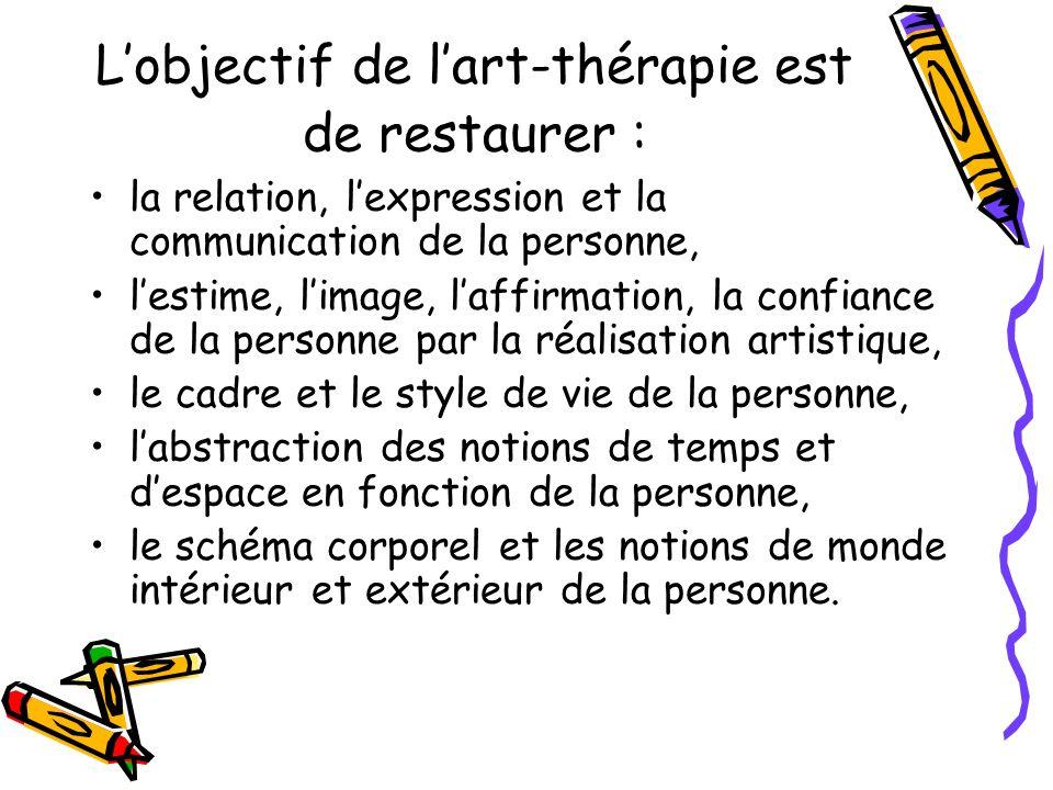 Lobjectif de lart-thérapie est de restaurer : la relation, lexpression et la communication de la personne, lestime, limage, laffirmation, la confiance