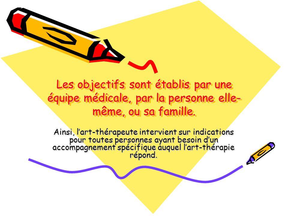 Les objectifs sont établis par une équipe médicale, par la personne elle- même, ou sa famille. Ainsi, lart-thérapeute intervient sur indications pour