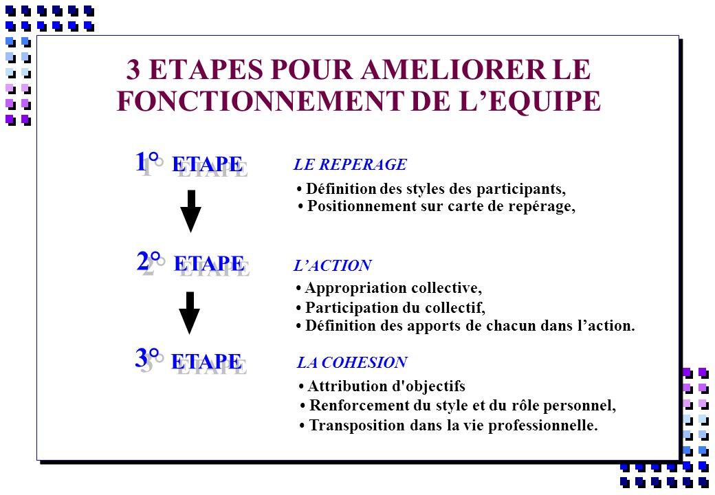 3 ETAPES POUR AMELIORER LE FONCTIONNEMENT DE LEQUIPE 1° ETAPE 2° ETAPE 3° ETAPE Définition des styles des participants, Positionnement sur carte de re
