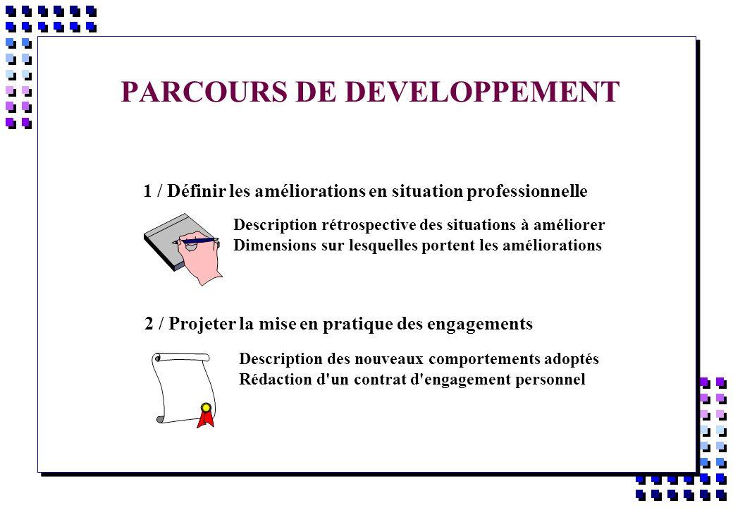 PARCOURS DE DEVELOPPEMENT 1 / Définir les améliorations en situation professionnelle Description rétrospective des situations à améliorer Dimensions s