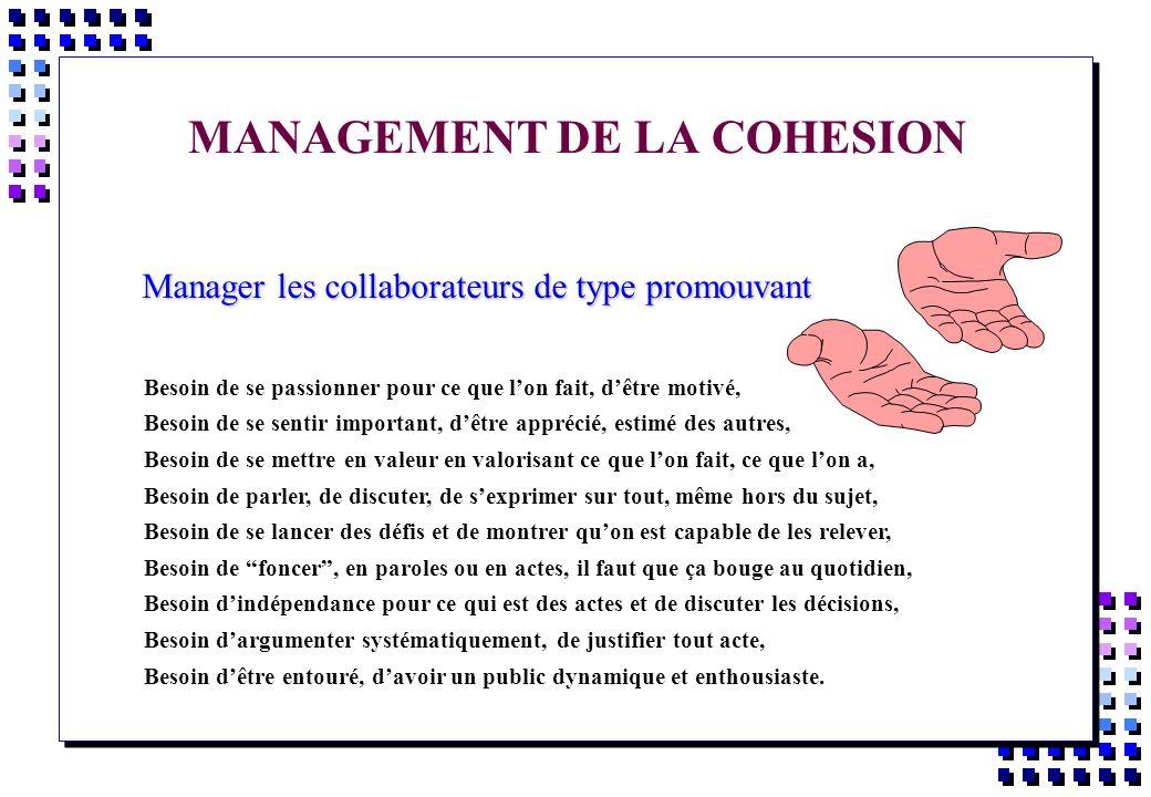 MANAGEMENT DE LA COHESION Manager les collaborateurs de type promouvant Manager les collaborateurs de type promouvant Besoin de se passionner pour ce