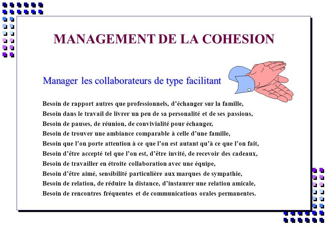 MANAGEMENT DE LA COHESION Manager les collaborateurs de type facilitant Manager les collaborateurs de type facilitant Besoin de rapport autres que pro