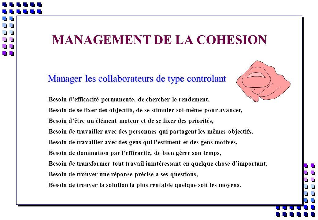 MANAGEMENT DE LA COHESION Manager les collaborateurs de type controlant Manager les collaborateurs de type controlant Besoin defficacité permanente, d