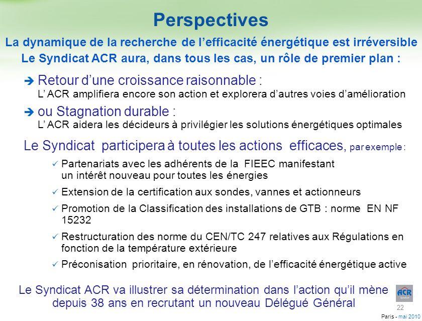 Paris - mai 2010 Retour dune croissance raisonnable : L ACR amplifiera encore son action et explorera dautres voies damélioration ou Stagnation durabl