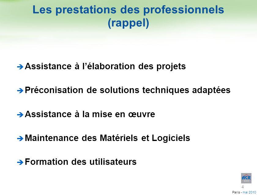 Paris - mai 2010 Assistance à lélaboration des projets Préconisation de solutions techniques adaptées Assistance à la mise en œuvre Maintenance des Ma
