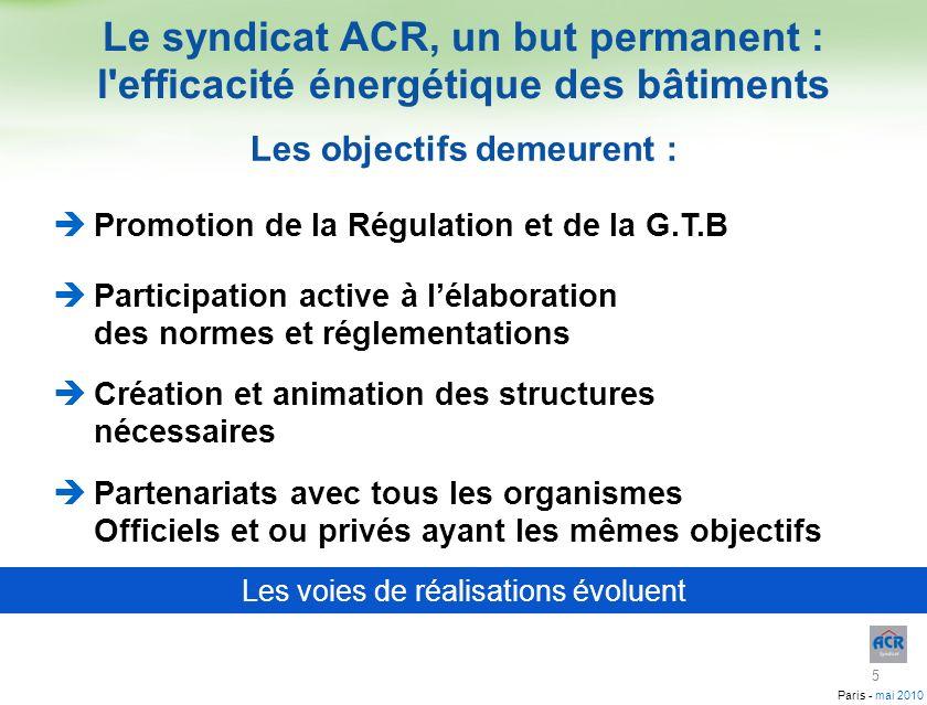 Paris - mai 2010 Le syndicat ACR, un but permanent : l'efficacité énergétique des bâtiments Promotion de la Régulation et de la G.T.B Participation ac