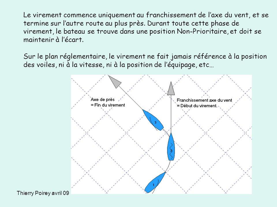 Thierry Poirey avril 09 Le virement commence uniquement au franchissement de laxe du vent, et se termine sur lautre route au plus près. Durant toute c