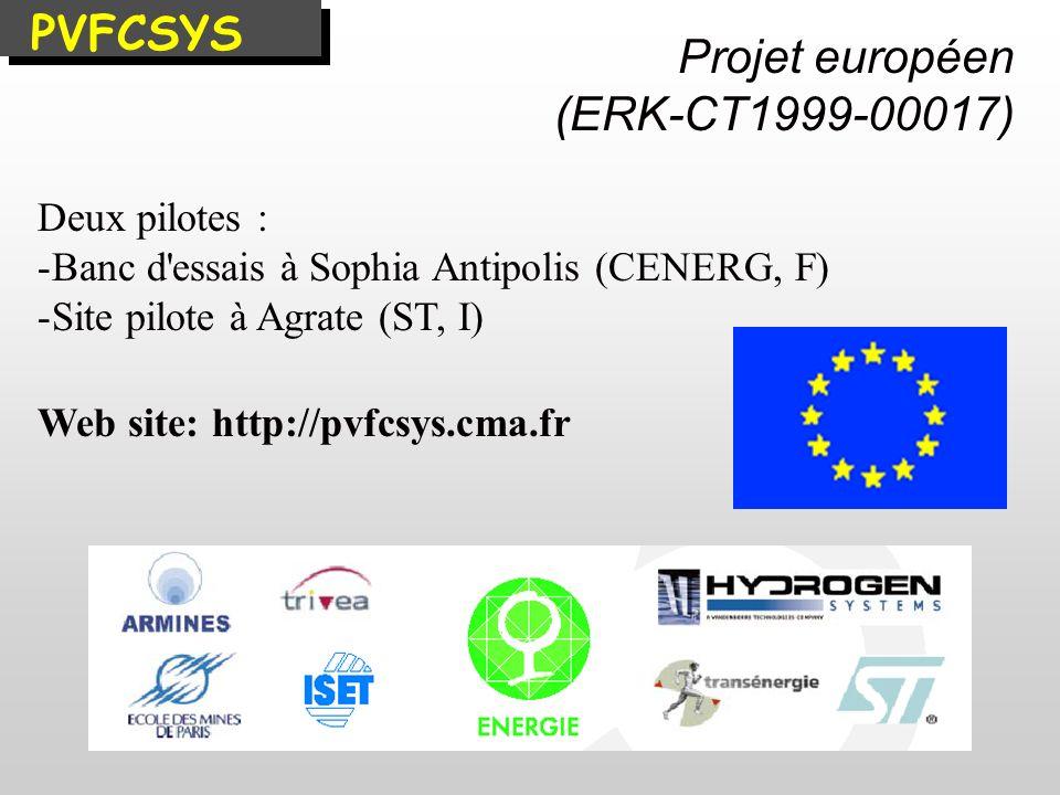 PVFCSYS Deux pilotes : - -Banc d'essais à Sophia Antipolis (CENERG, F) - -Site pilote à Agrate (ST, I) Web site: http://pvfcsys.cma.fr Projet européen