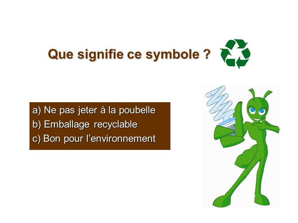 Que signifie ce symbole ? a) Ne pas jeter à la poubelle b) Emballage recyclable c) Bon pour lenvironnement