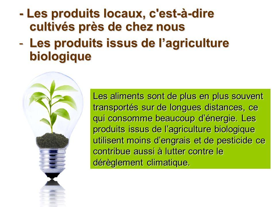 - Les produits locaux, c'est-à-dire cultivés près de chez nous -Les produits issus de lagriculture biologique Les aliments sont de plus en plus souven