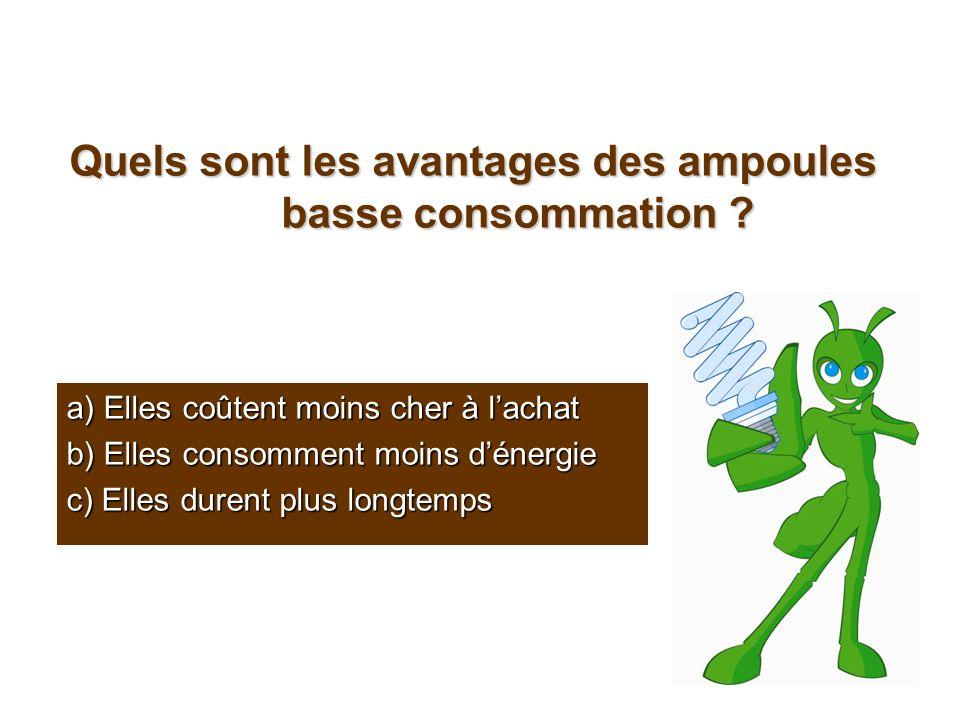 Quels sont les avantages des ampoules basse consommation ? a) Elles coûtent moins cher à lachat b) Elles consomment moins dénergie c) Elles durent plu