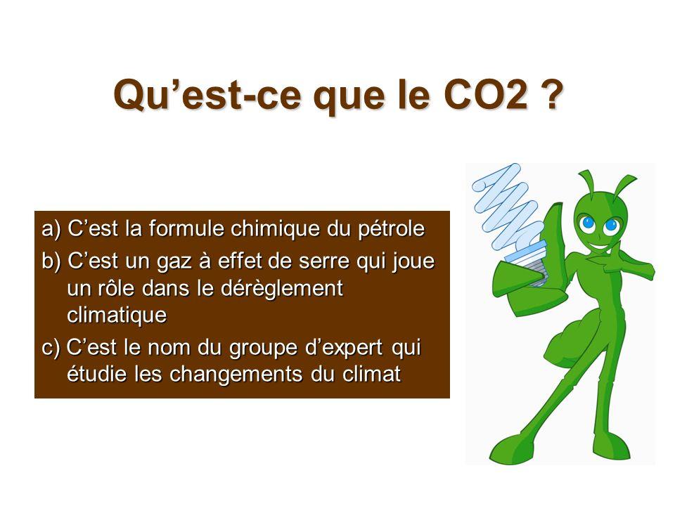 Quest-ce que le CO2 ? a) Cest la formule chimique du pétrole b) Cest un gaz à effet de serre qui joue un rôle dans le dérèglement climatique c) Cest l