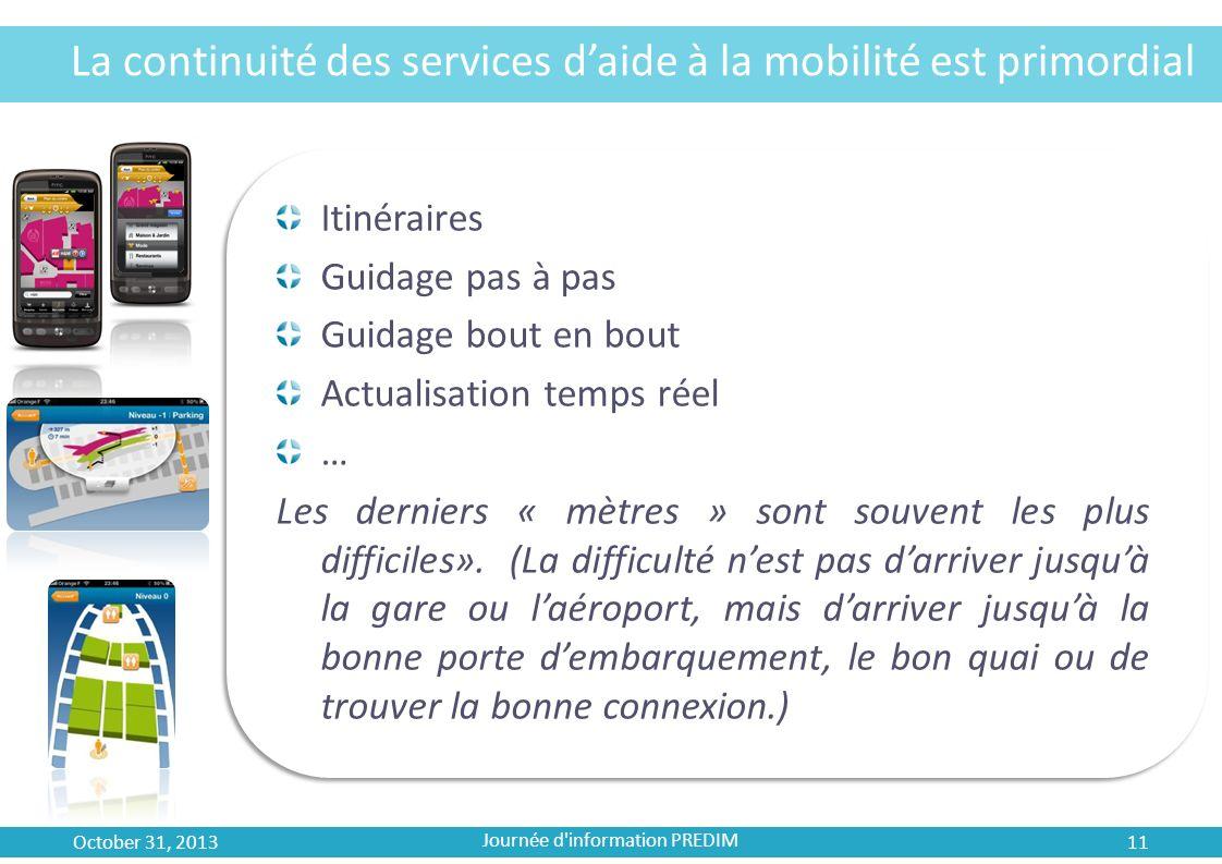 La continuité des services daide à la mobilité est primordial Itinéraires Guidage pas à pas Guidage bout en bout Actualisation temps réel … Les dernie