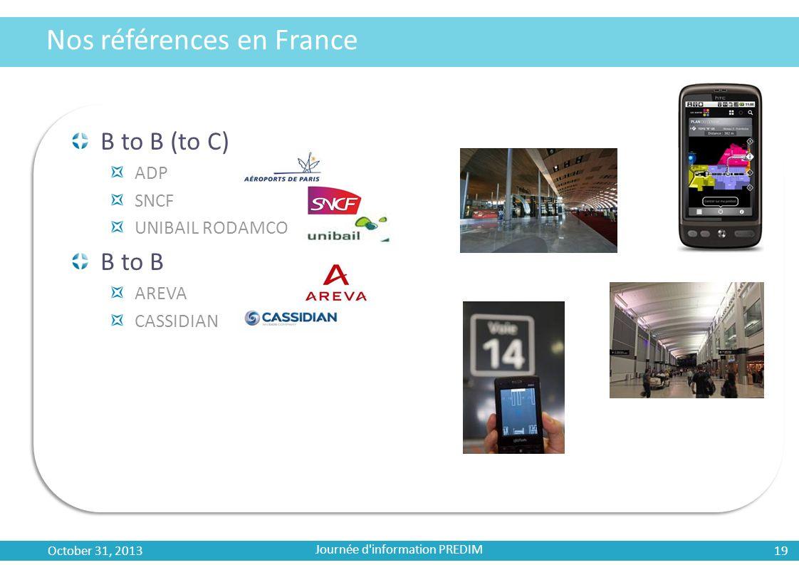 Nos références en France B to B (to C) ADP SNCF UNIBAIL RODAMCO B to B AREVA CASSIDIAN October 31, 2013 19 Journée d'information PREDIM