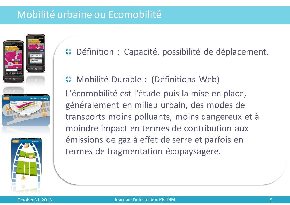 Mobilité urbaine ou Ecomobilité Définition : Capacité, possibilité de déplacement. Mobilité Durable : (Définitions Web) L'écomobilité est l'étude puis
