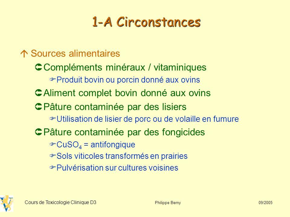 Cours de Toxicologie Clinique D3 Philippe Berny 09/2005 3-C Diagnostic áAnimal vivant ÛSang Biochimie : transaminases, CPK, LDH, urée, créatinine, bilirubine +++ Hématologie : methémoglobine, anémie Dosage cuivre (cf tableau) ÝAugmentation juste avant la crise hémolytique áAnimal mort ÛFoie, rein Cu (cf tableau)