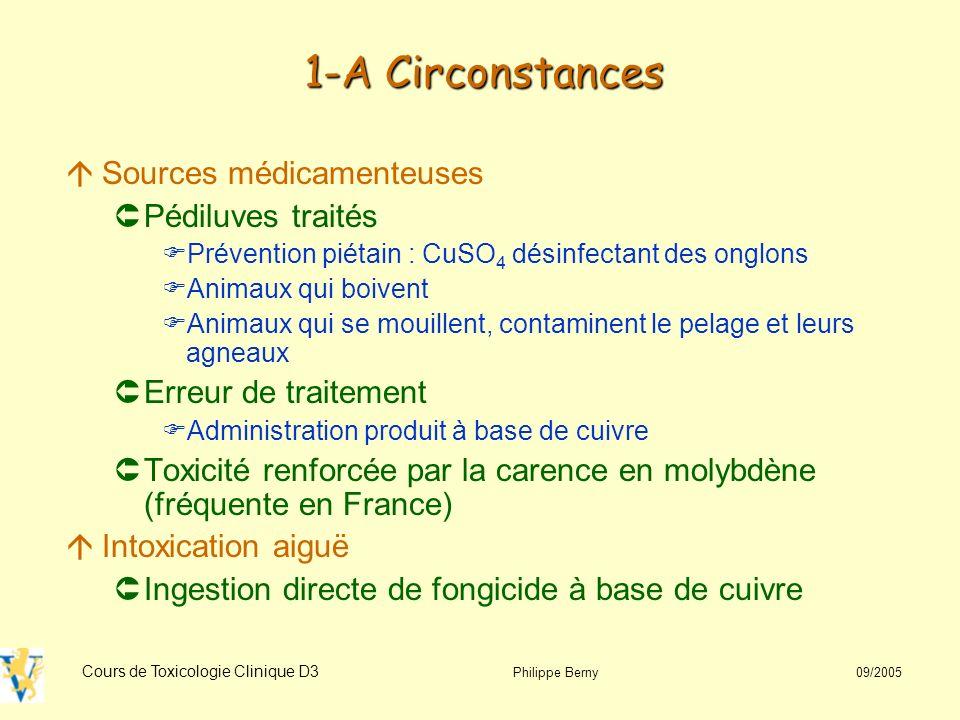 Cours de Toxicologie Clinique D3 Philippe Berny 09/2005 3-C Diagnostic EchantillonValeurs usuelles* Valeurs élevées* Sérum/Plasma0,7 - 1,3>1,5 Foie<150>250 (ovin) >350 (chien) Rein<15>15 * En mg/L ou mg/kg poids frais