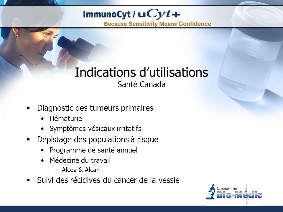 Indications dutilisations Santé Canada Diagnostic des tumeurs primaires Hématurie Symptômes vésicaux irritatifs Dépistage des populations à risque Pro