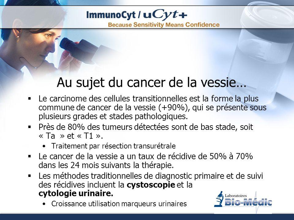 Algorithme décisionnelle Micro-hématurie ou symptômes vésicaux irritatifs Demander uCyt+, en combinaison à la cytologie urinaire, à votre laboratoire Résultat uCyt+ positif Haut risque de tumeur (examen cystoscopique requis) Risque minime de tumeur vésicale uCyt+ & Cytologie négatifs