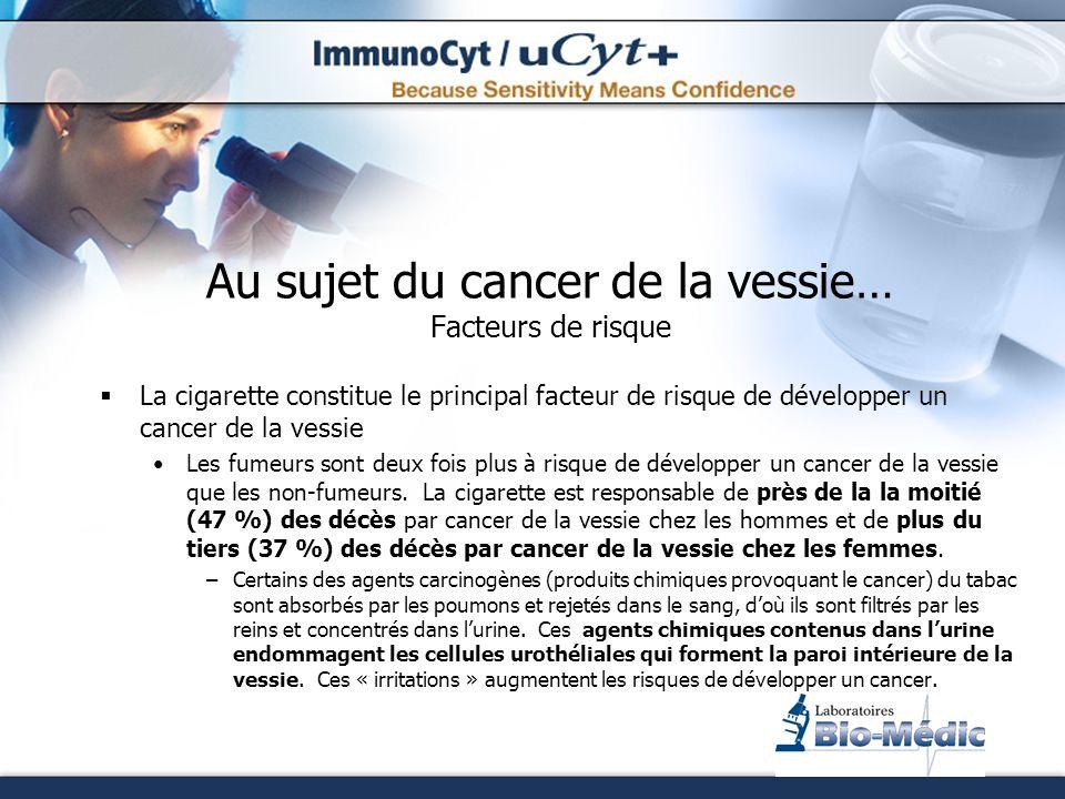 Au sujet du cancer de la vessie… Facteurs de risque Exposition professionnelle Certains agents chimiques industriels sont reconnus pour causer le cancer de la vessie.
