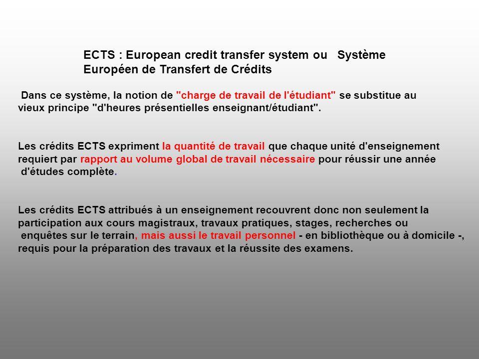Système ECTS Dans le cadre de l ECTS, le volume de travail d une année d études vaut conventionnellement 60 crédits.