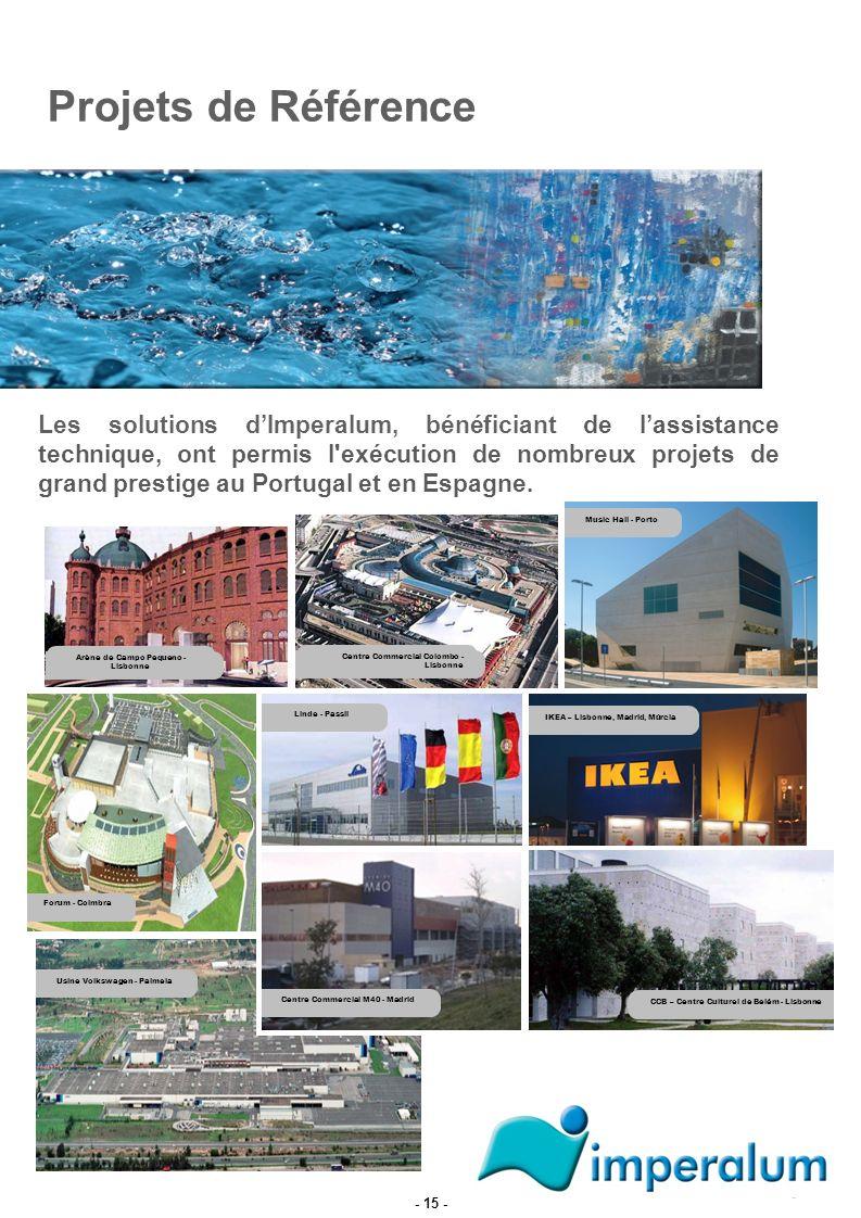 Projets de Référence Les solutions dImperalum, bénéficiant de lassistance technique, ont permis l'exécution de nombreux projets de grand prestige au P