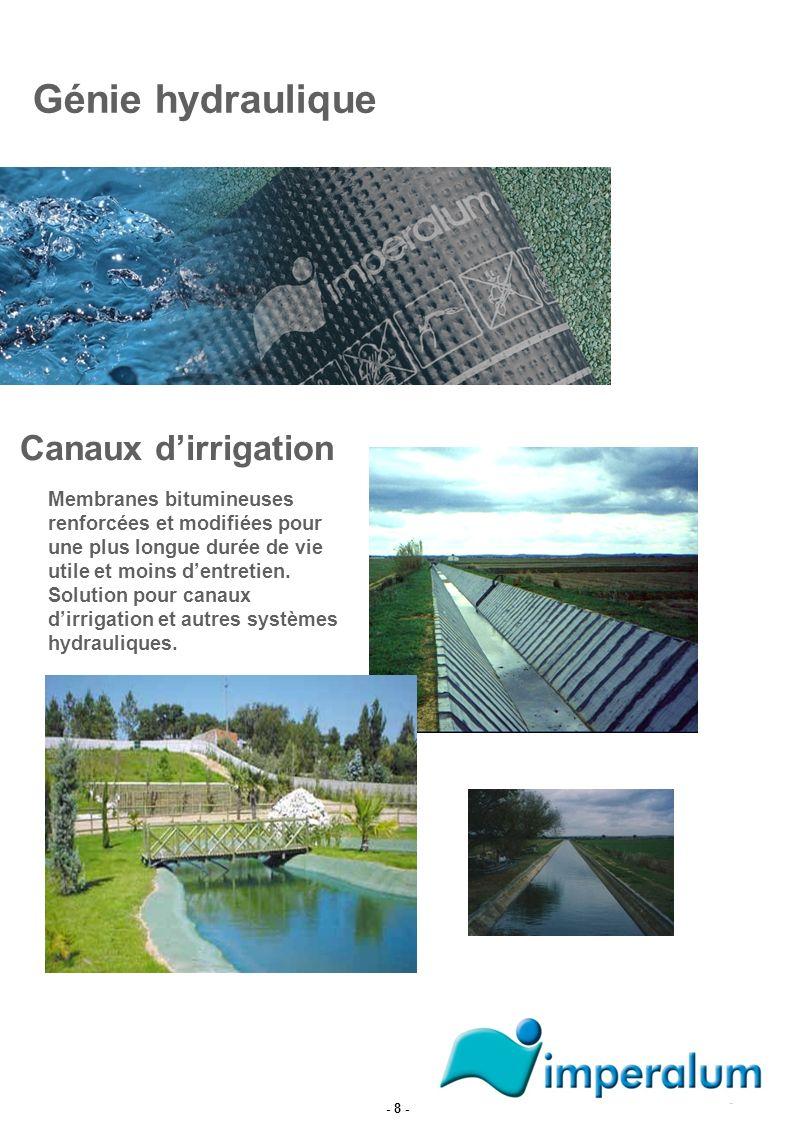 Canaux dirrigation Génie hydraulique Membranes bitumineuses renforcées et modifiées pour une plus longue durée de vie utile et moins dentretien. Solut