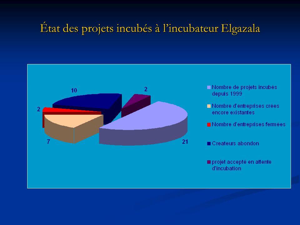 État des projets incubés à lincubateur Elgazala