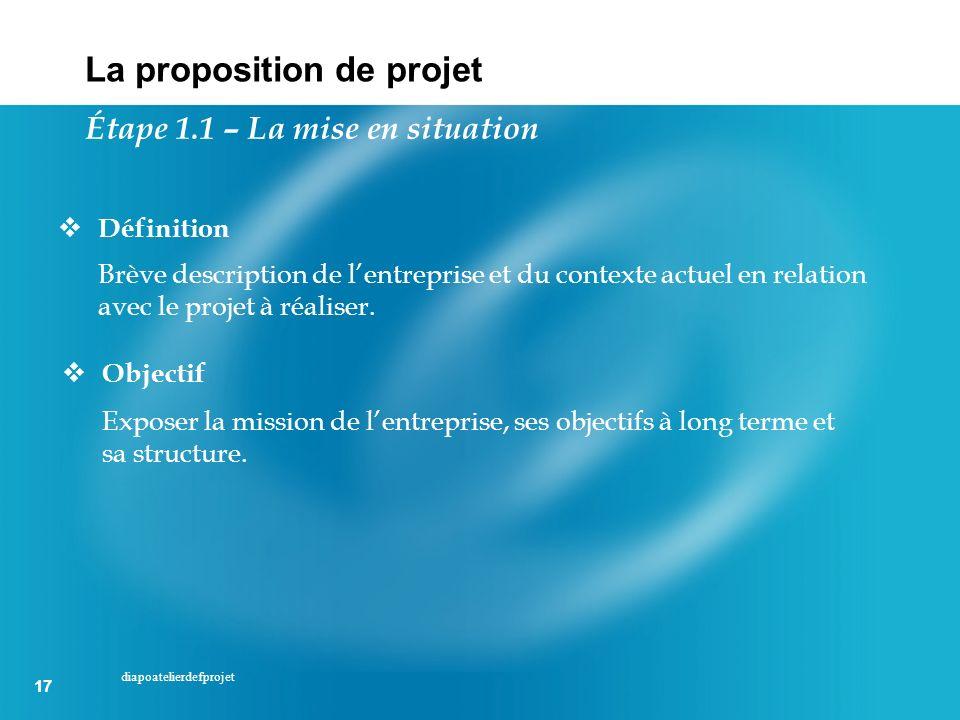17 diapoatelierdefprojet Définition Brève description de lentreprise et du contexte actuel en relation avec le projet à réaliser. Objectif Exposer la