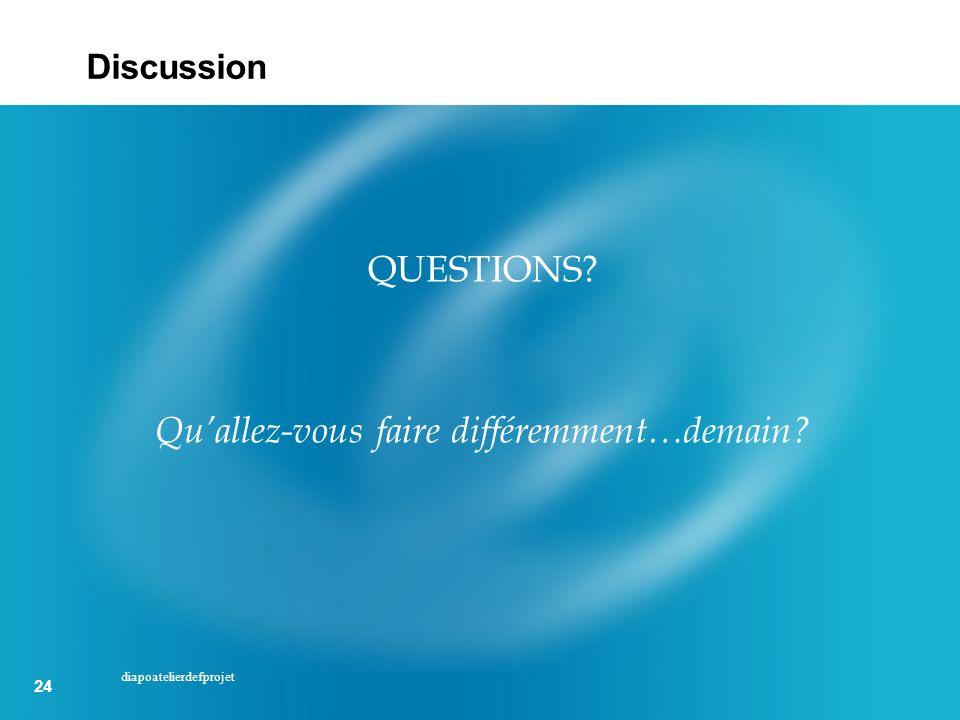 24 diapoatelierdefprojet Discussion QUESTIONS? Quallez-vous faire différemment…demain?