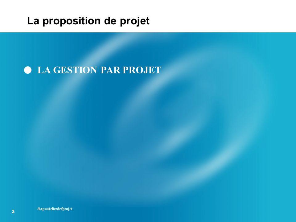 3 3 diapoatelierdefprojet LA GESTION PAR PROJET La proposition de projet