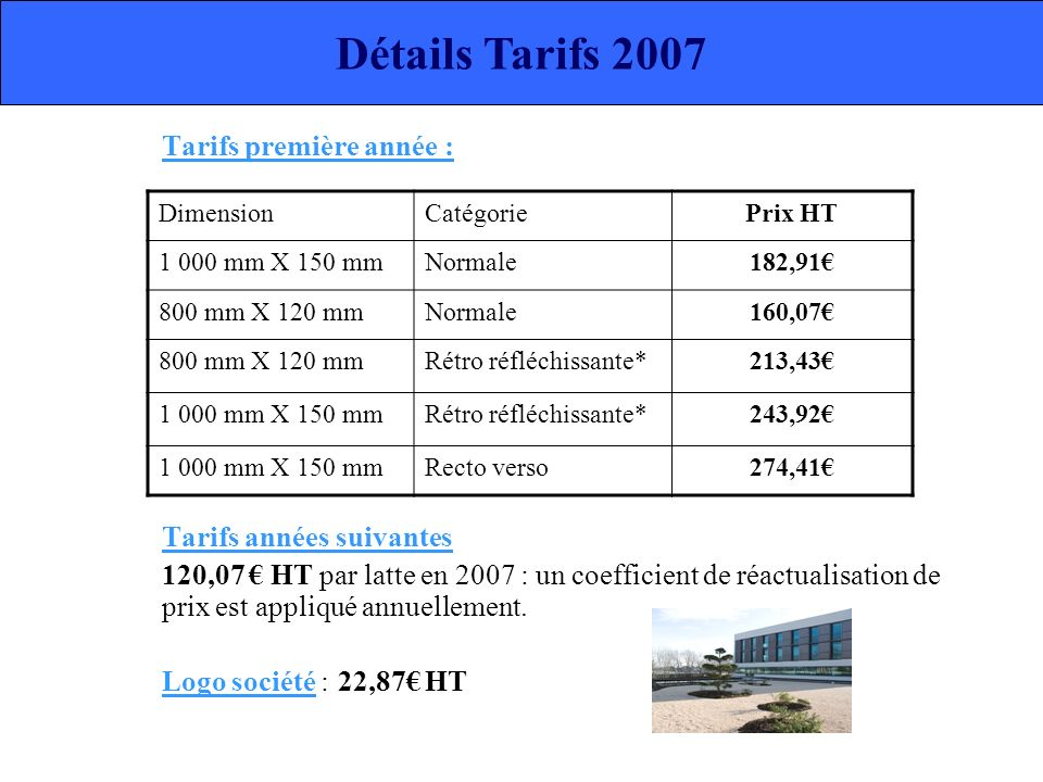 Tarifs première année : Tarifs années suivantes 120,07 HT par latte en 2007 : un coefficient de réactualisation de prix est appliqué annuellement. Log