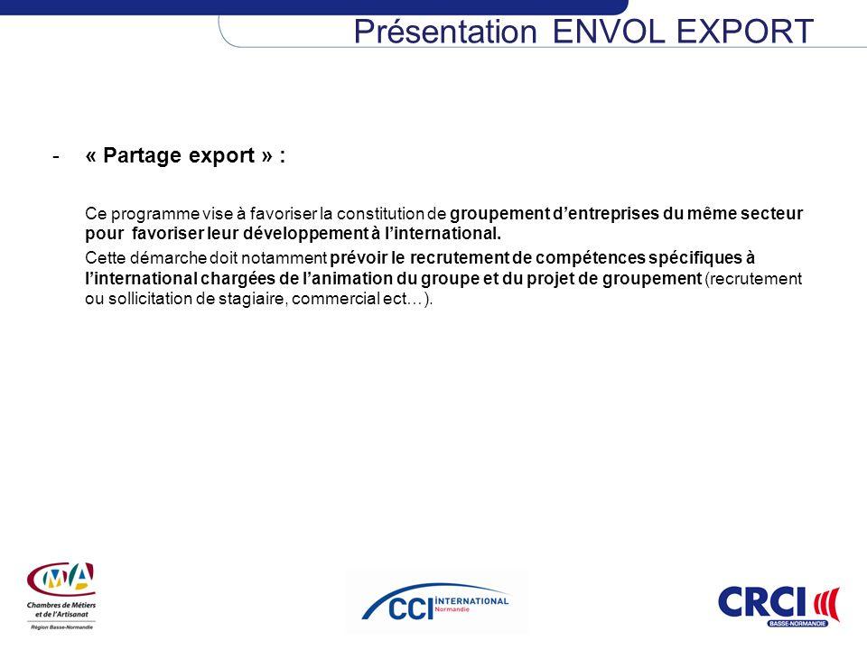 -« Partage export » : Ce programme vise à favoriser la constitution de groupement dentreprises du même secteur pour favoriser leur développement à lin