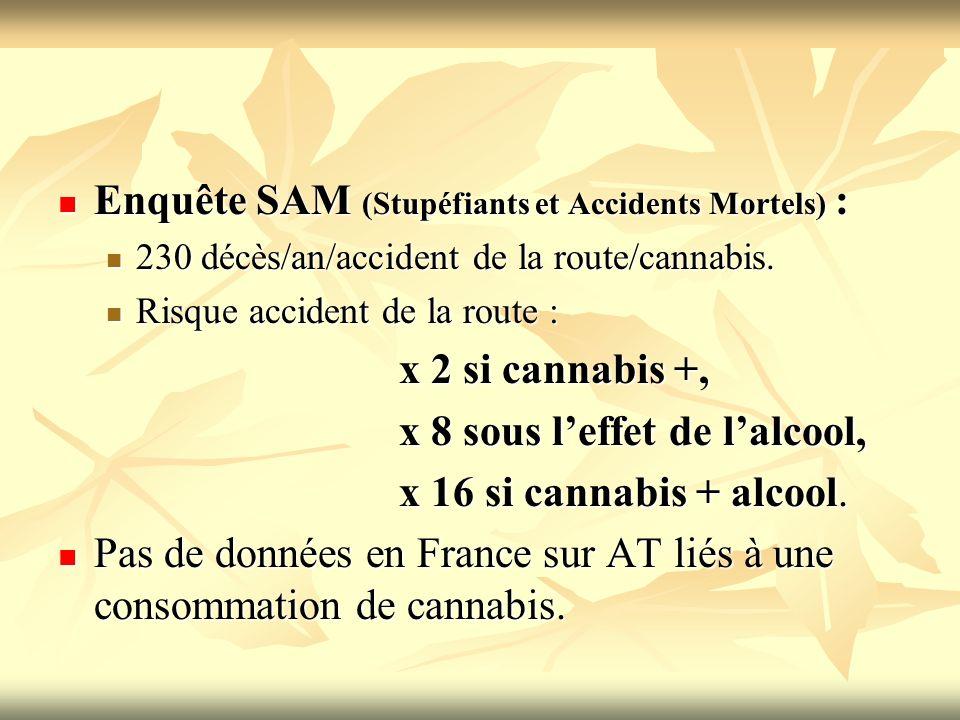 Enquête SAM (Stupéfiants et Accidents Mortels) : Enquête SAM (Stupéfiants et Accidents Mortels) : 230 décès/an/accident de la route/cannabis. 230 décè